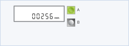 Electricity smart meter with a green A button and grey B button to the right of the screen