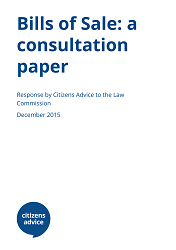 Bills of Sale Law Commission Consultation response report cover