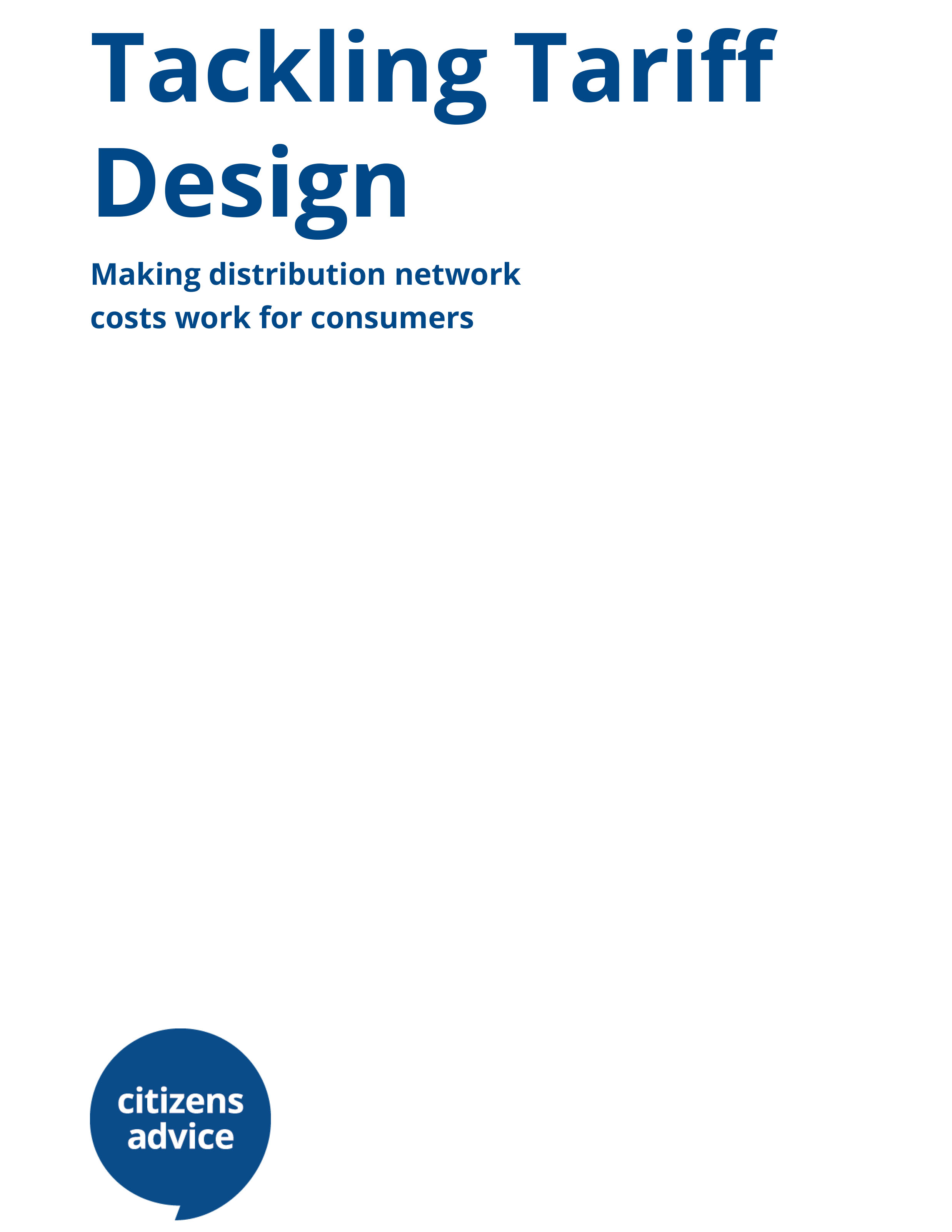 The Tariff Design (report cover)