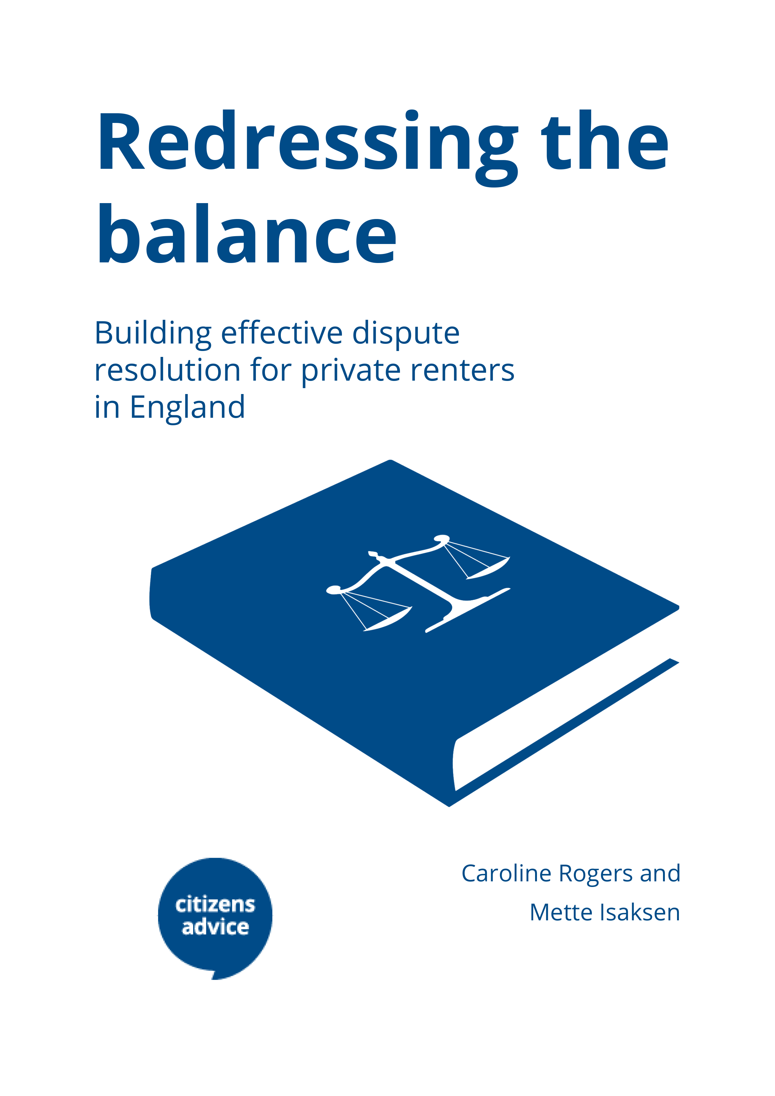 Redressing the balance report cover