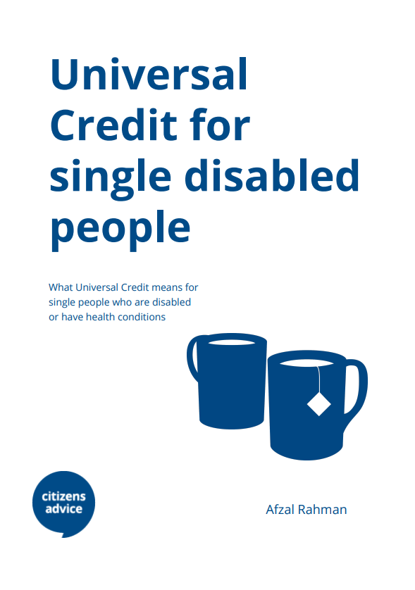 Universal credit for single disabled people