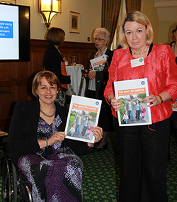 Baroness Grey-Thompson holding the Citizens Advice 'Pop goes the payslip' report.