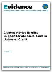 Support for childcare costs in universal credit briefing cover