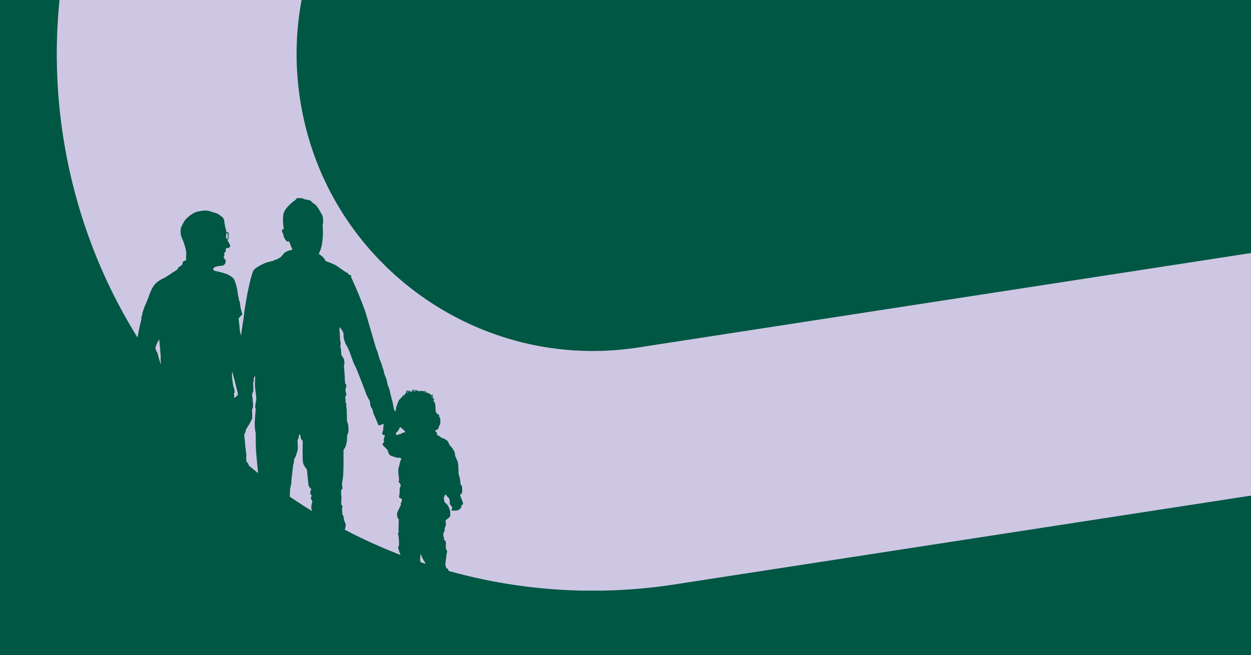Silhouettes of two adults and a child
